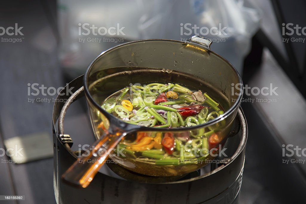 Thai herbs in transparant boiling pan stock photo