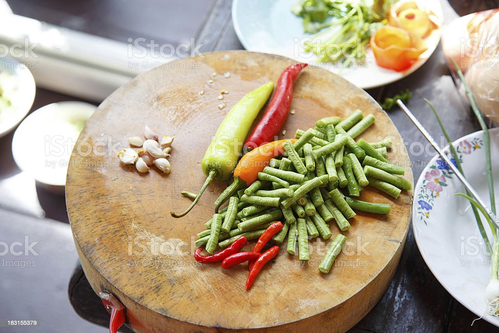 Thai herbs on cut board preparation royalty-free stock photo