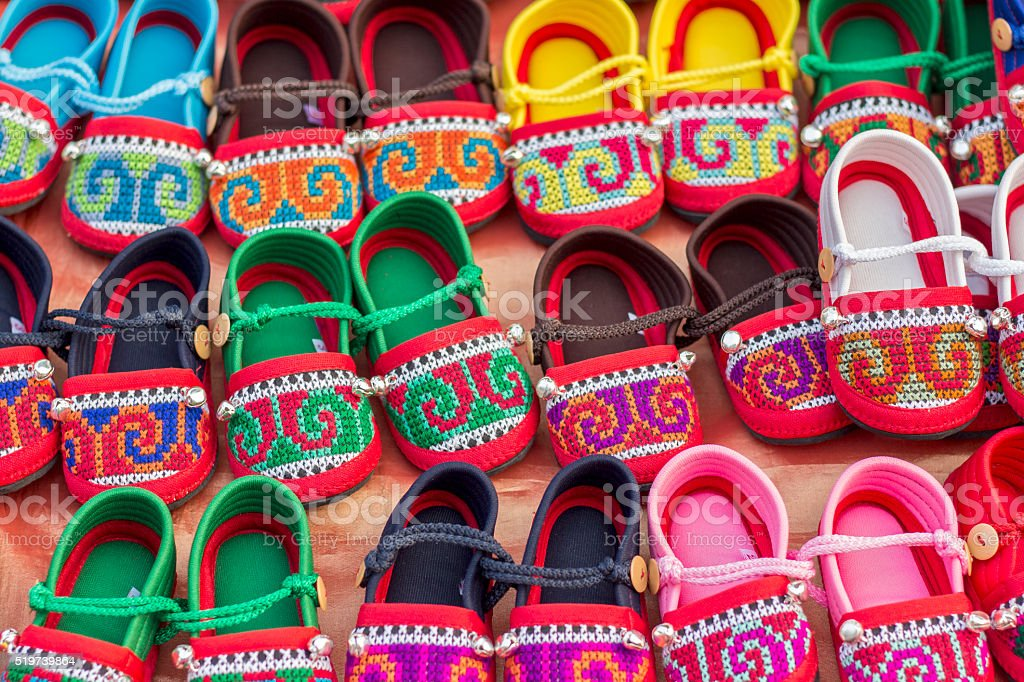 THai Hill tribe baby Shoes stock photo