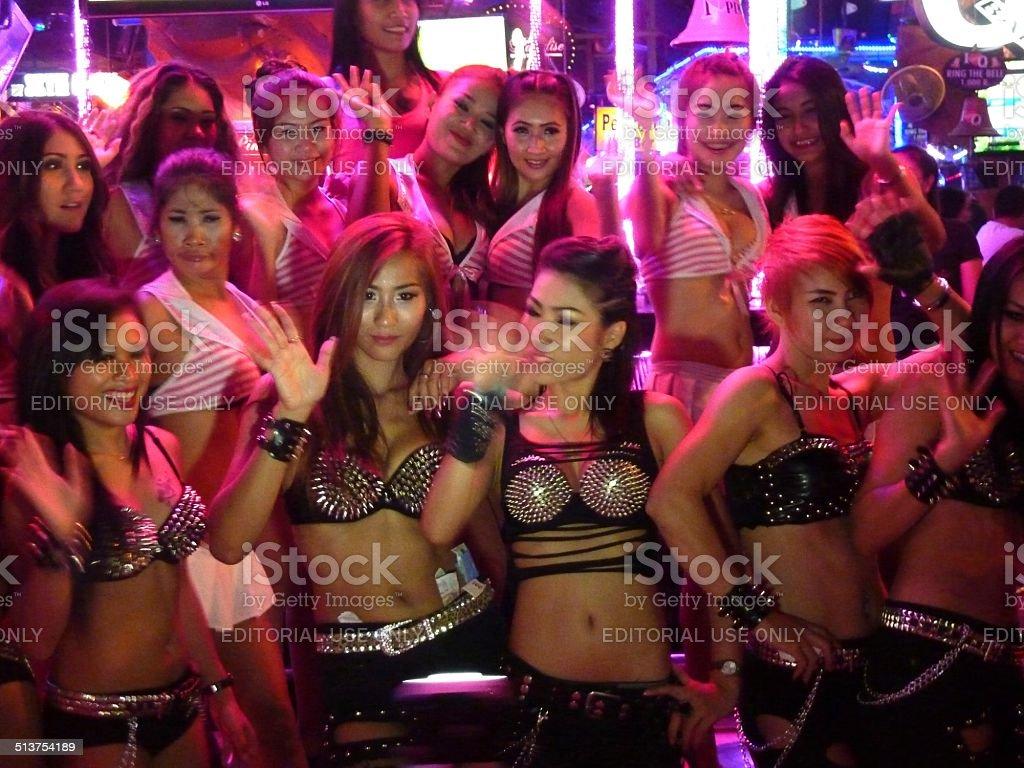 Thai ladies posing in Bangla road - Patong beach, Phuket stock photo