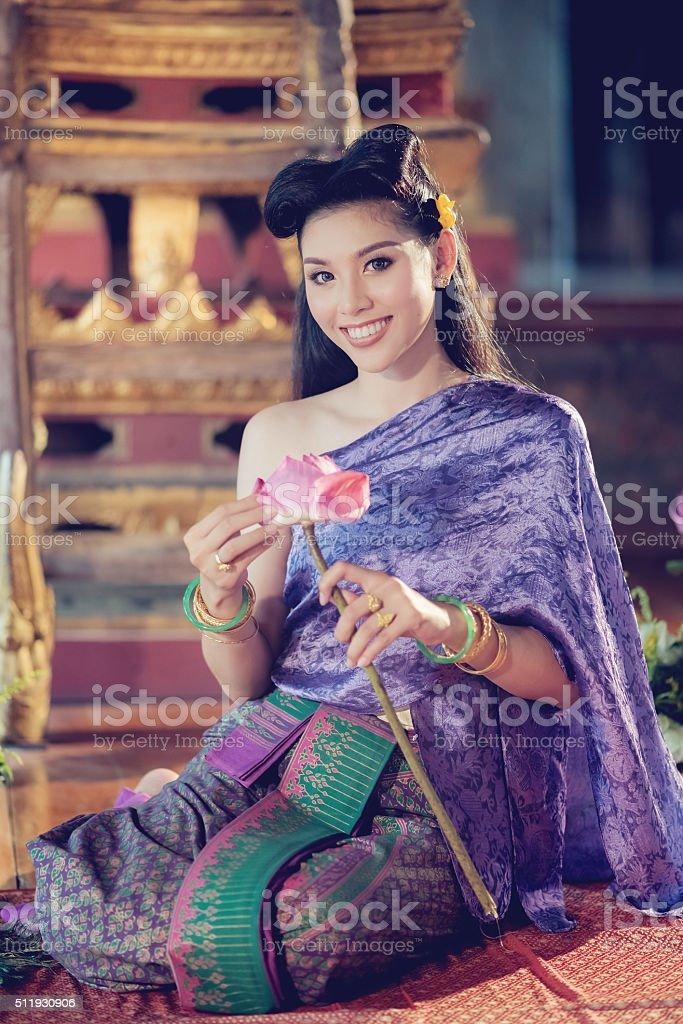 Thai Lady Costume of Ayutthaya Thailand stock photo