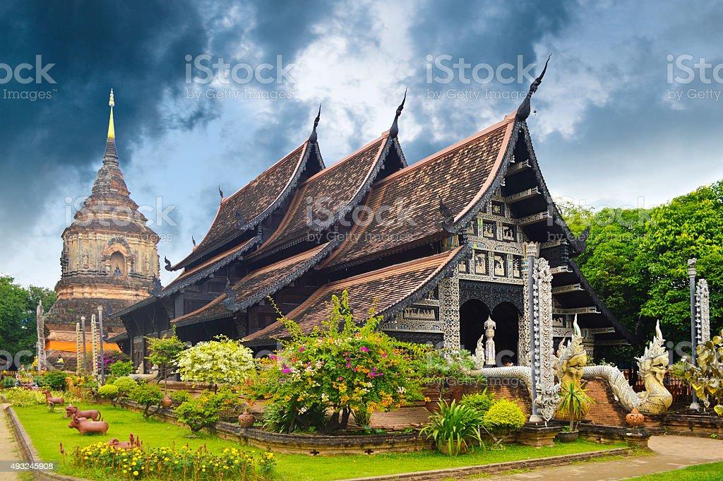 Thai Lanna Monastery at Wat Lok Moli Chiang Mai, Thailand stock photo
