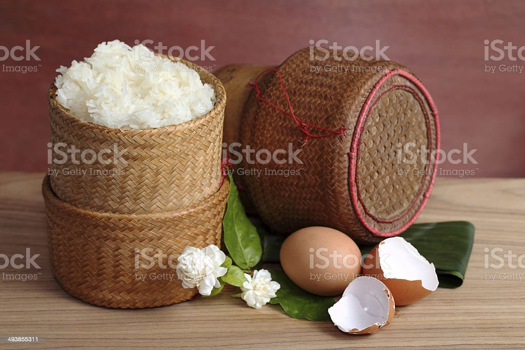 thai laos bamboo sticky rice container ,Kratip is bamboo contain royalty-free stock photo