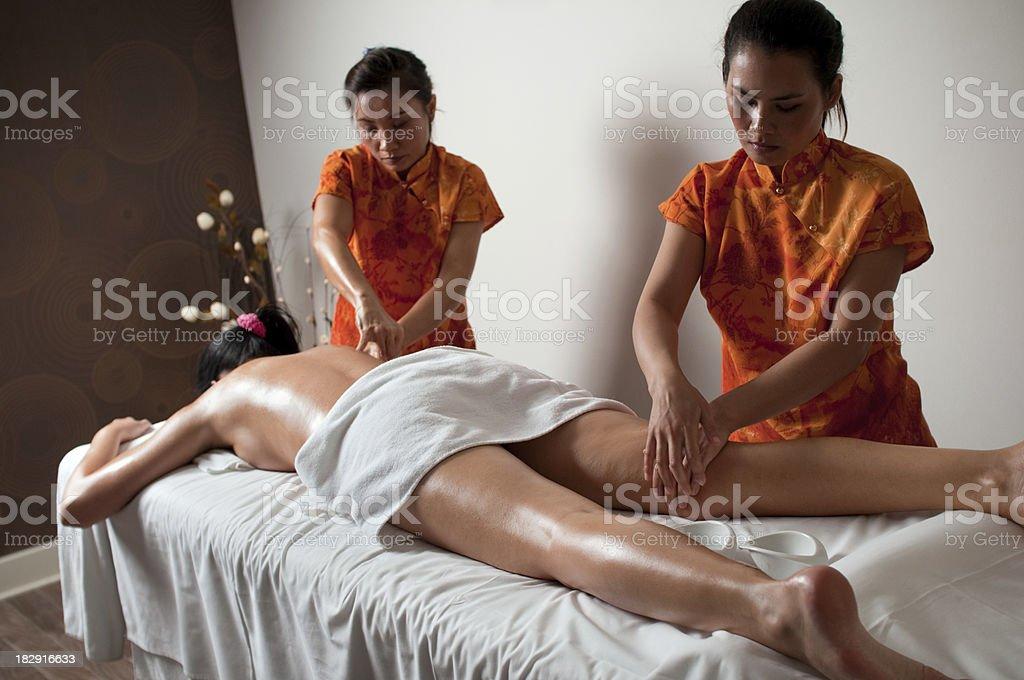 Thai legs massage stock photo
