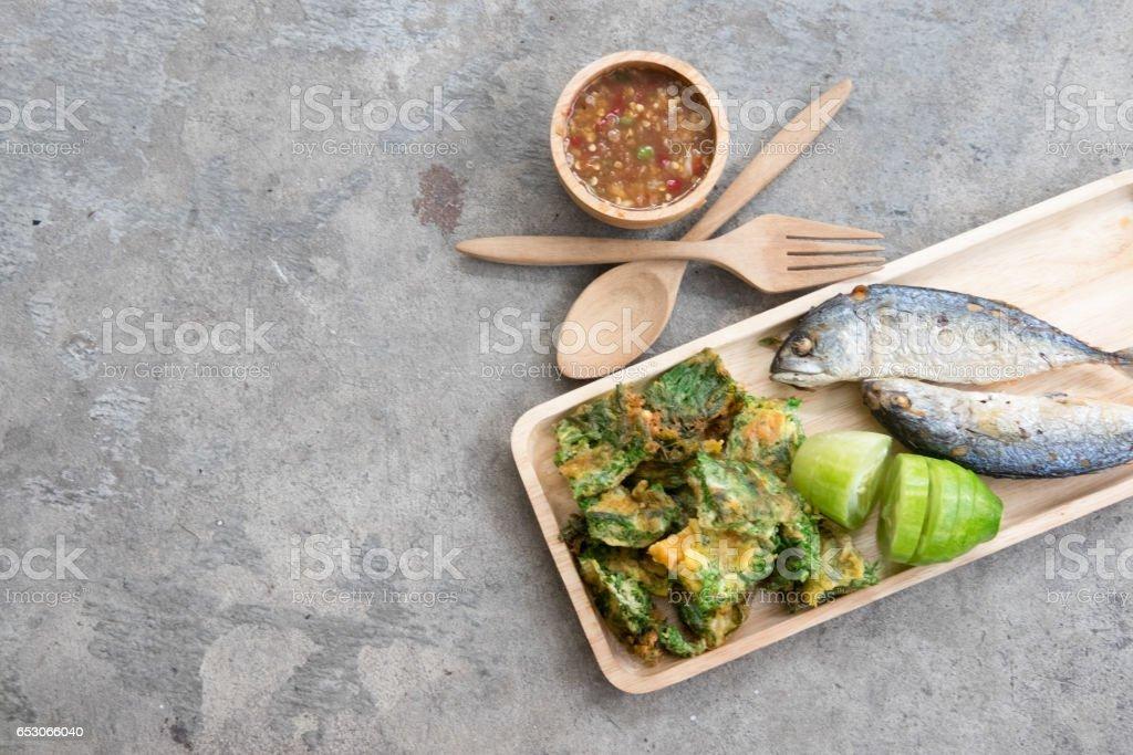 Thai local popular food as spicy shrimp paste dip stock photo
