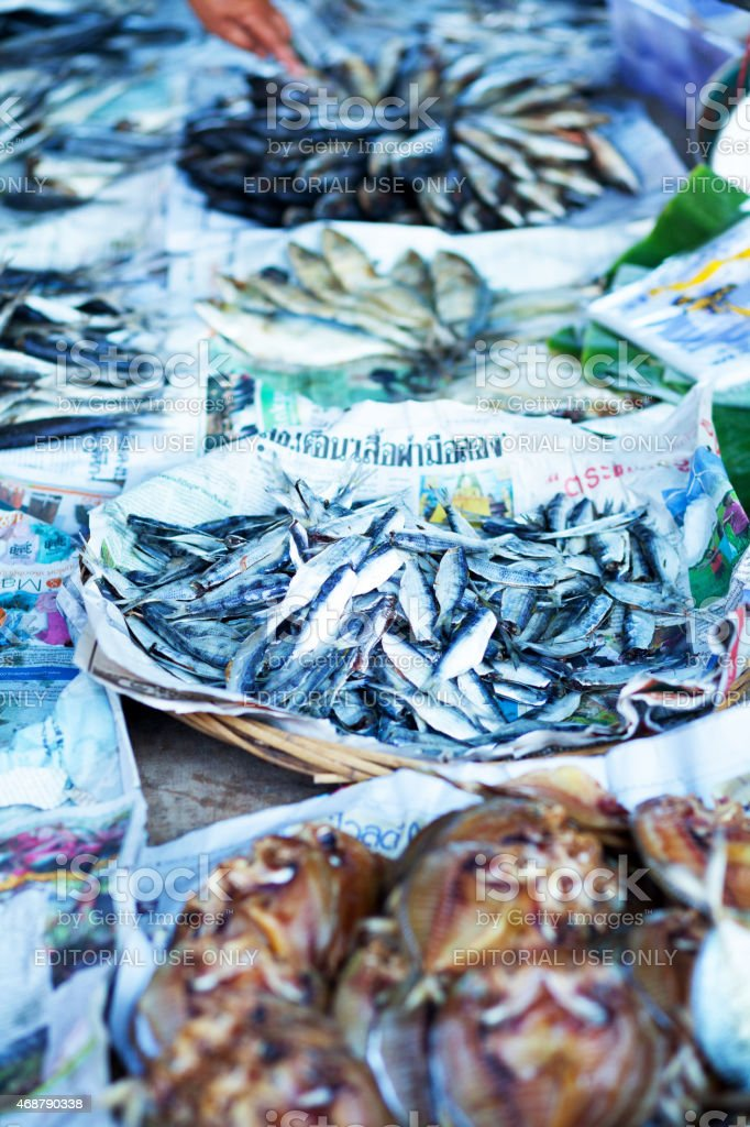 Thai mackerels on local market stock photo