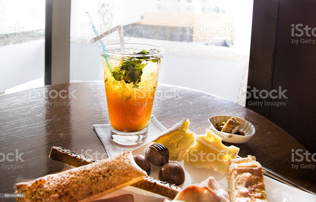 Thai mai drink with snacs stock photo