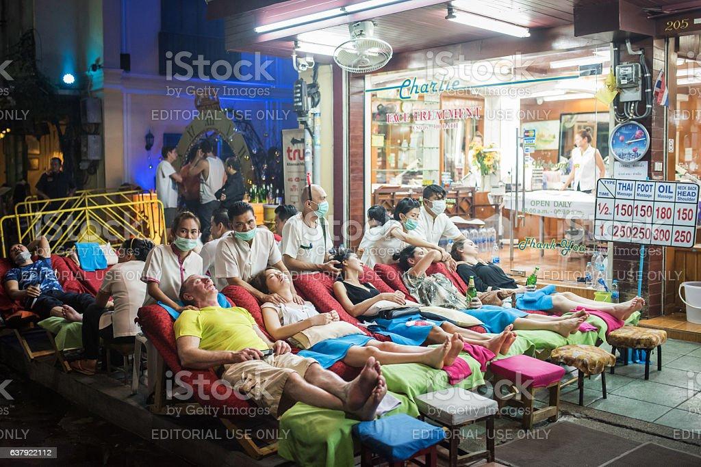 Thai massage at Khaosan Road stock photo
