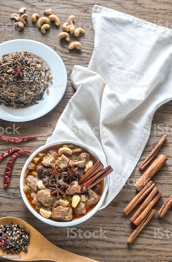 Thai Massaman Curry on the wooden background stock photo