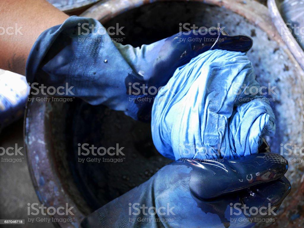 Thai men tie batik dyeing Indigenous Knowledge of Phrae people stock photo