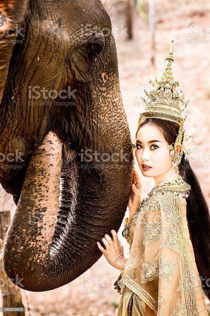 Thai Model and Elephant stock photo