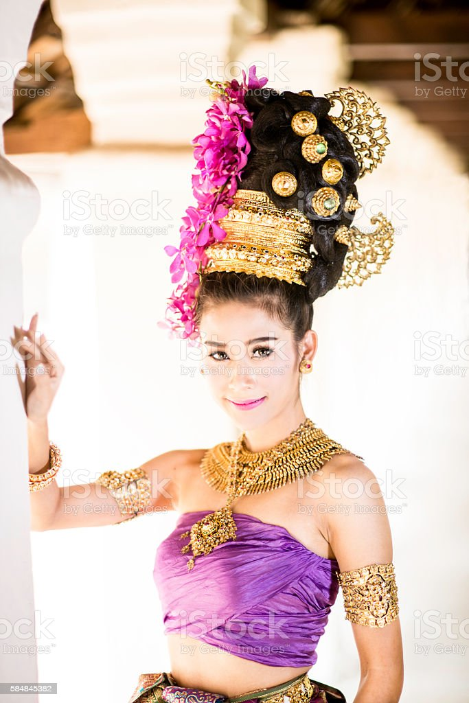 Thai Model in Traditional Costume stock photo