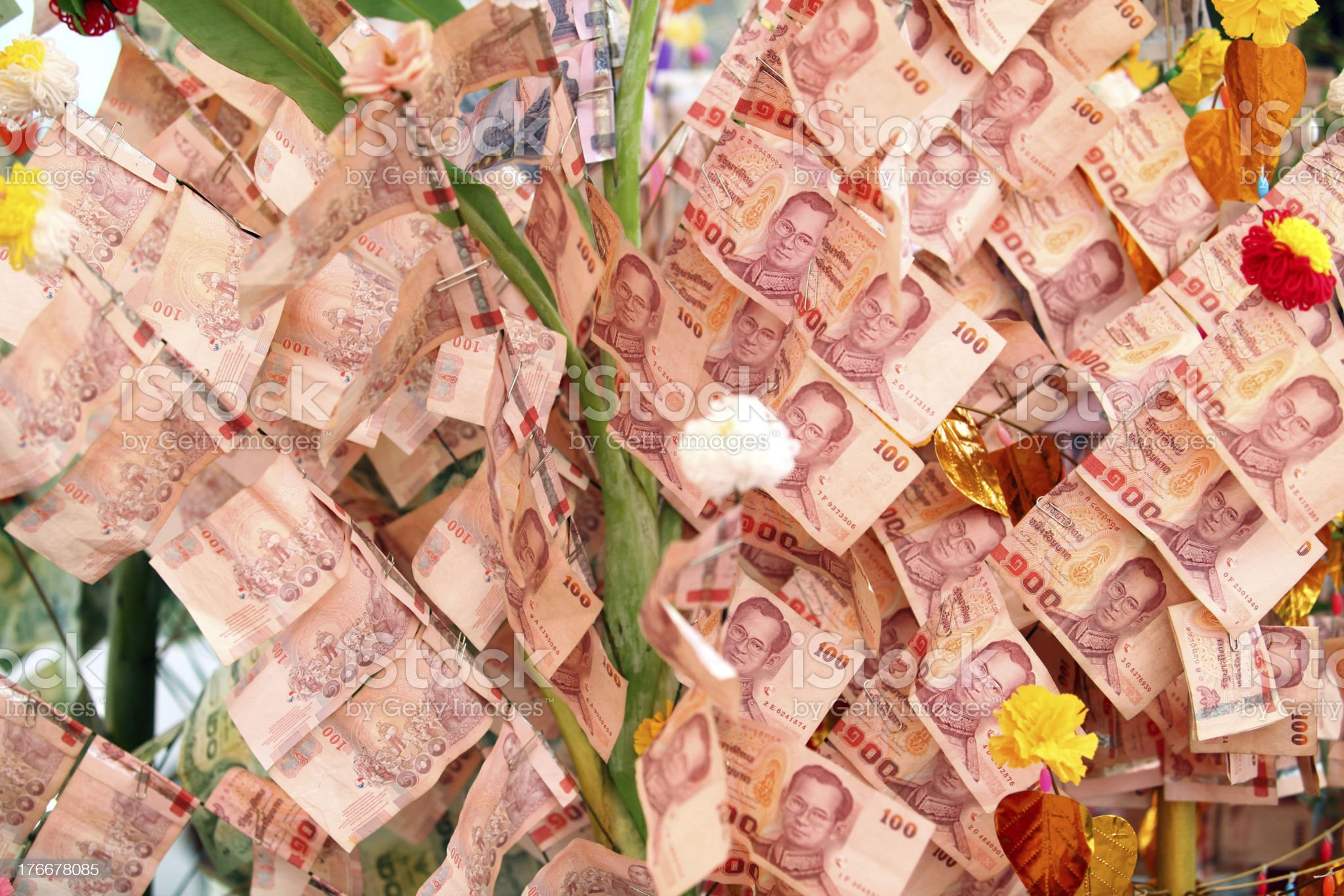 Thai money for charity royalty-free stock photo