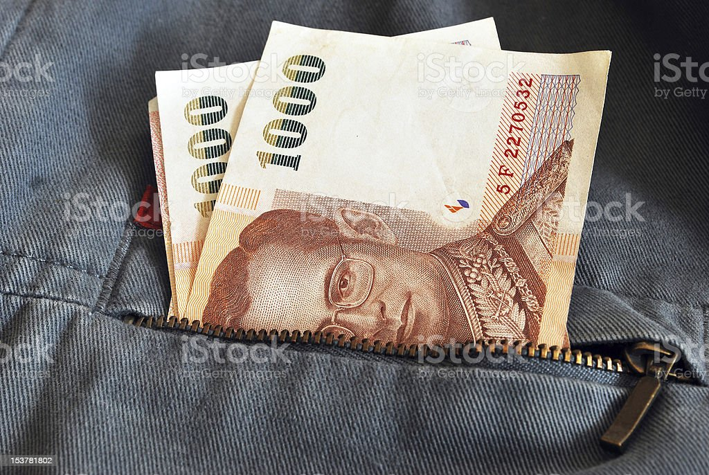 Thai money in jacket jean royalty-free stock photo
