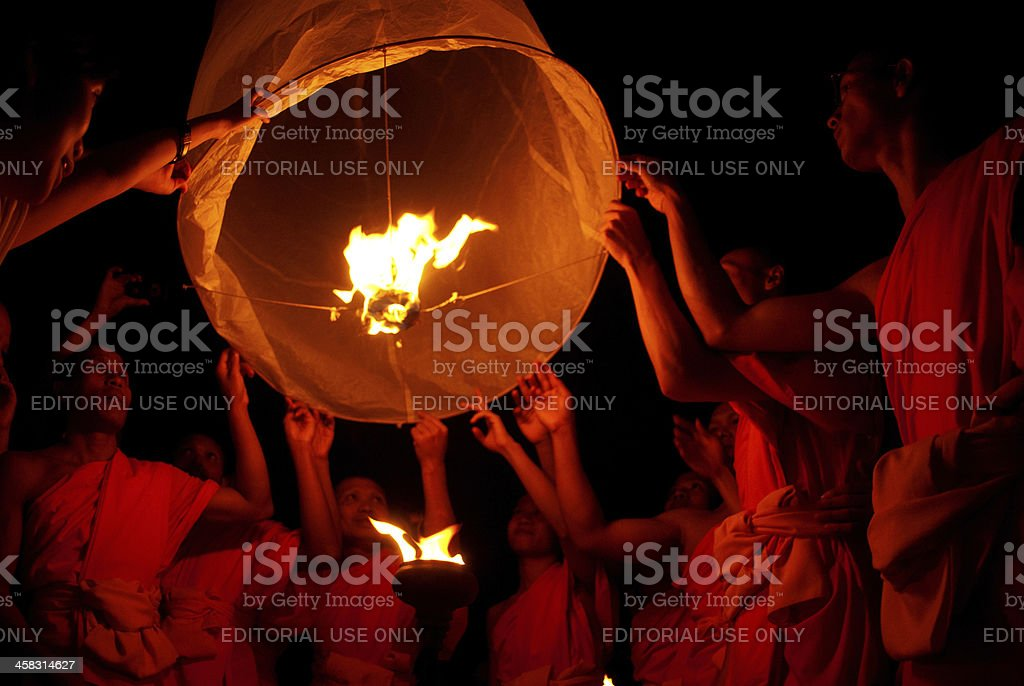Thai monk floating lamp . stock photo