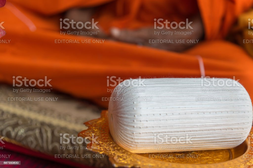 Thai monk ritual for cerebrate the new house or house-warming ceremony in buddhist in Thailand stock photo
