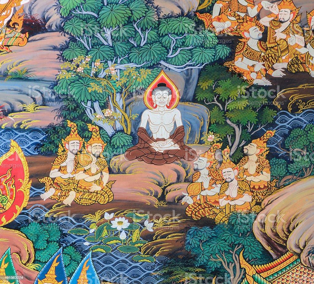 Thai mural painting art stock photo