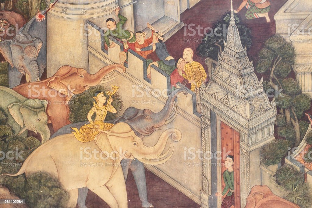Thai Mural Painting in sanctuary stock photo