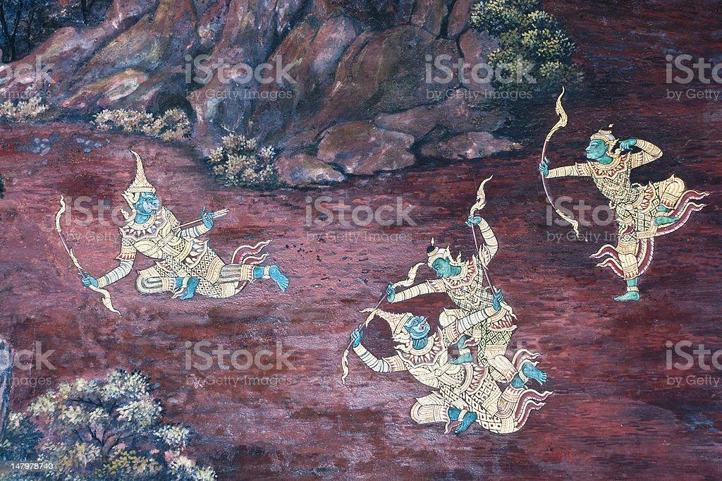 Tajski Malarstwo ścienne na ścianie, Wat Phra Kaew zbiór zdjęć royalty-free