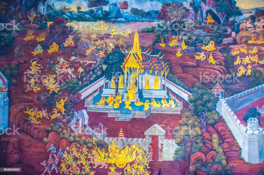 Thai Mural Paintings on the wall, Wat Phra Kaew at Bangkok, Thailand. The scenes of Ramayana story. stock photo