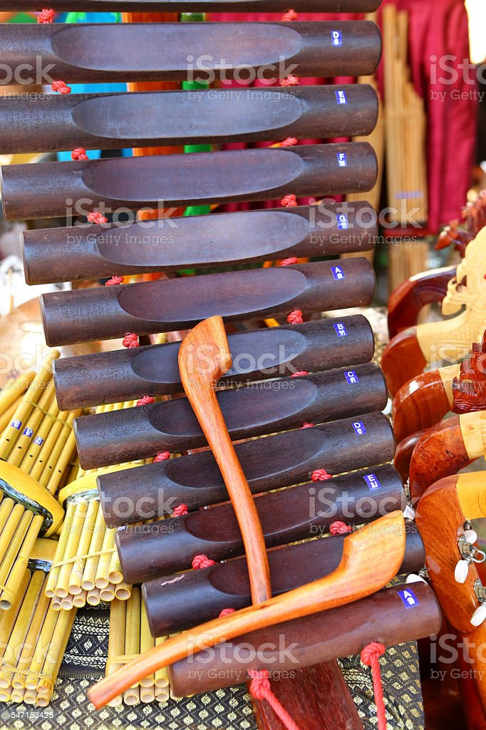 Thai musical instrument xylophone, asian instrument stock photo