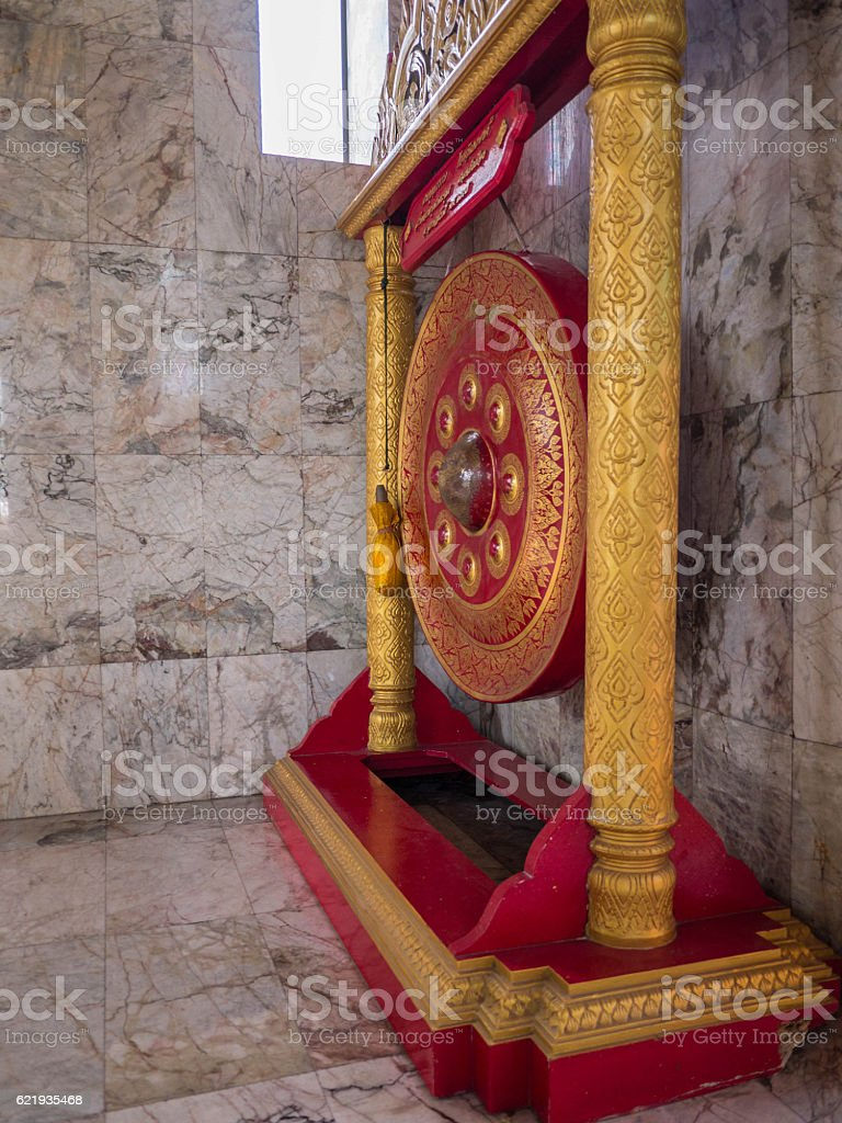 Thai native Gong. Ancient gong in Thailand stock photo