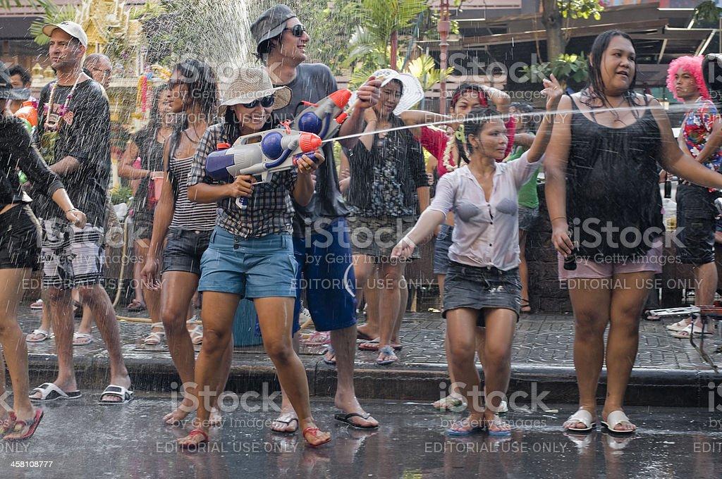thai new year festival stock photo
