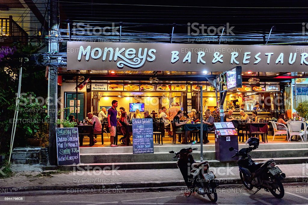Thai night cafe in Koh Chang, Thailand. stock photo
