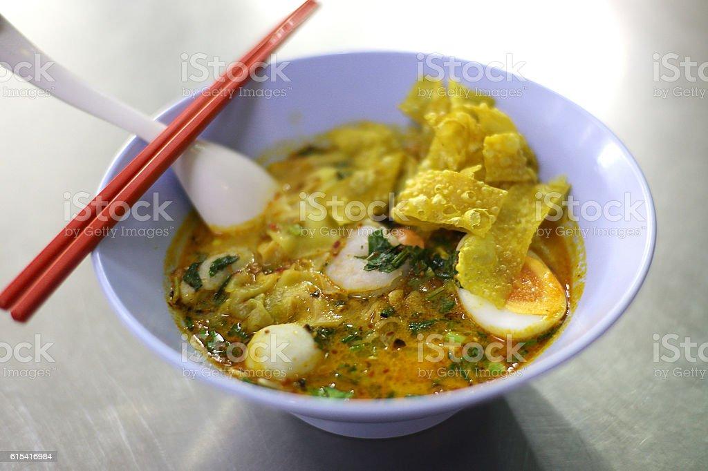 thai noodle tom yum stock photo