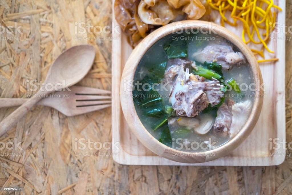 Thai Noodles topped with pork, Chinese and Thai Style food called 'Rad Na' stock photo