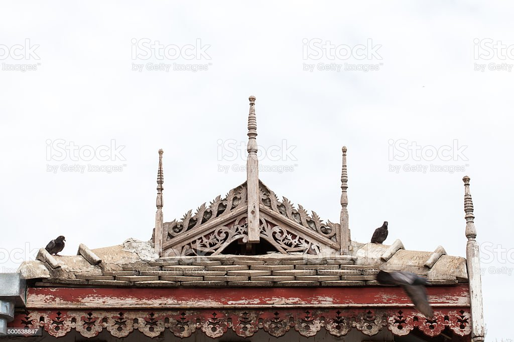 Thai northern antique style house gable stock photo