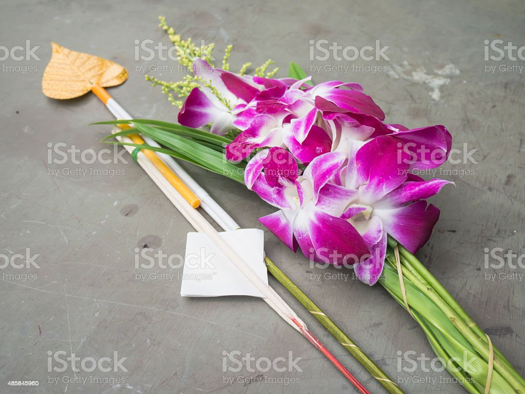 Thai orchid for worship stock photo