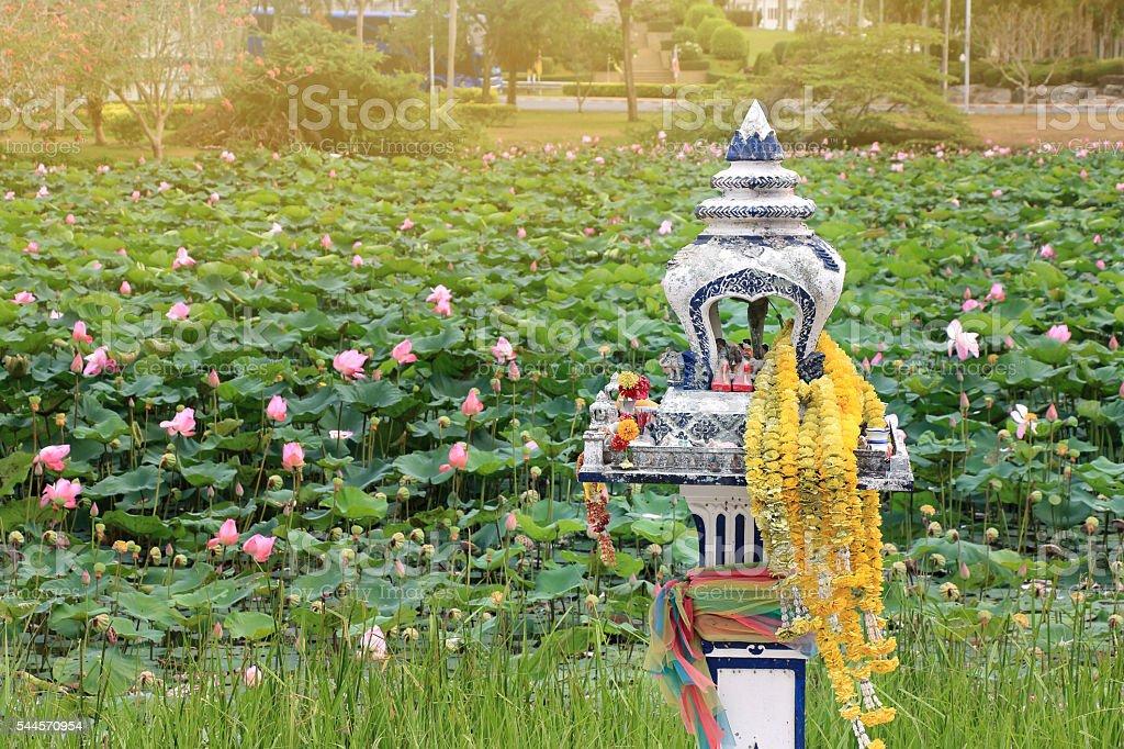 Thai outdoor spirit house shrine. house joss stock photo