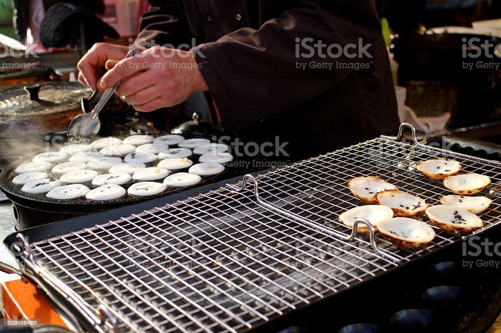 Thai pancake kanom krok stock photo