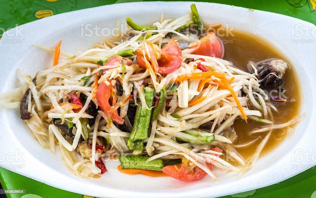 Thai papaya salad also known as Som Tum from Thailand. royalty-free stock photo