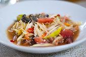 Thai Papaya Salad on White Dish