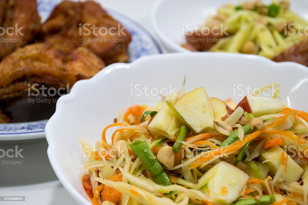 Thai papaya salad (  Som Tum) stock photo
