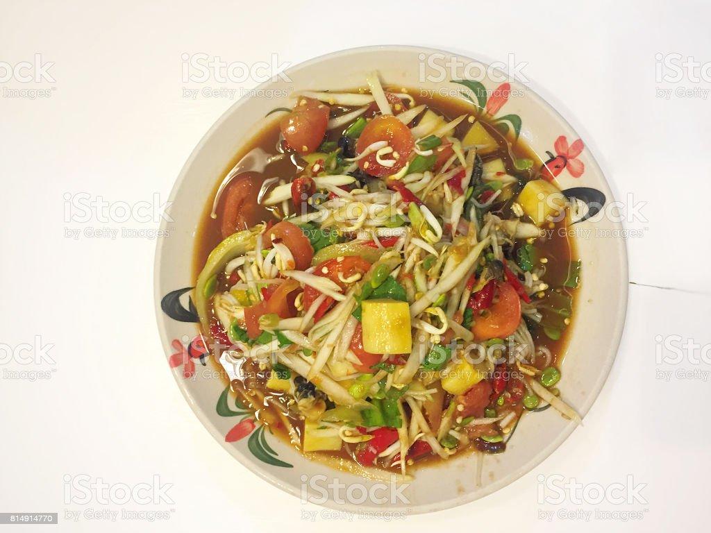 Thai Papaya Salad (Som Tam) stock photo