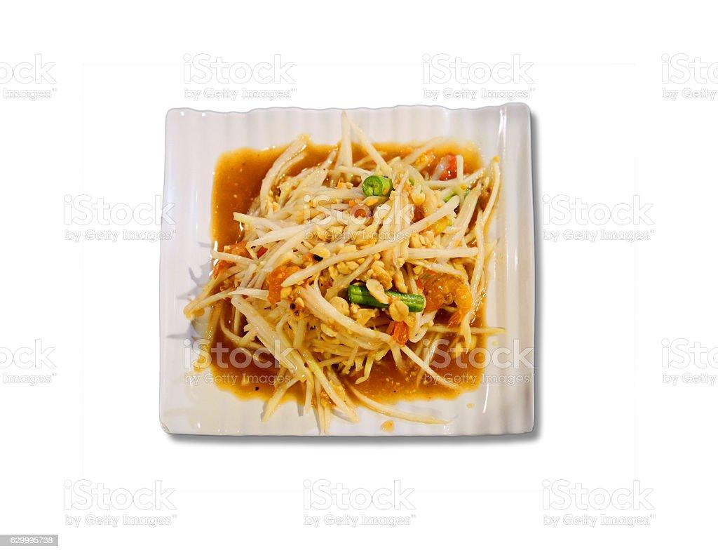 Thai Papaya salad, without chili pepper stock photo