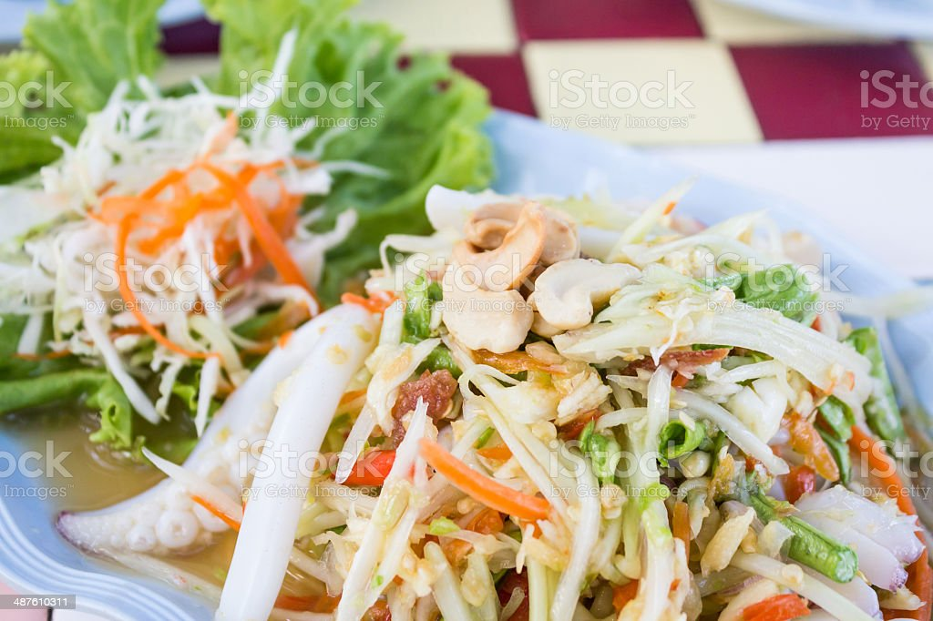 Thai papaya spicy salad with crab, Som Tum. royalty-free stock photo