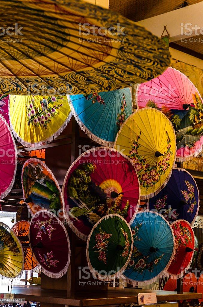 Thai Paper Umbrellas stock photo
