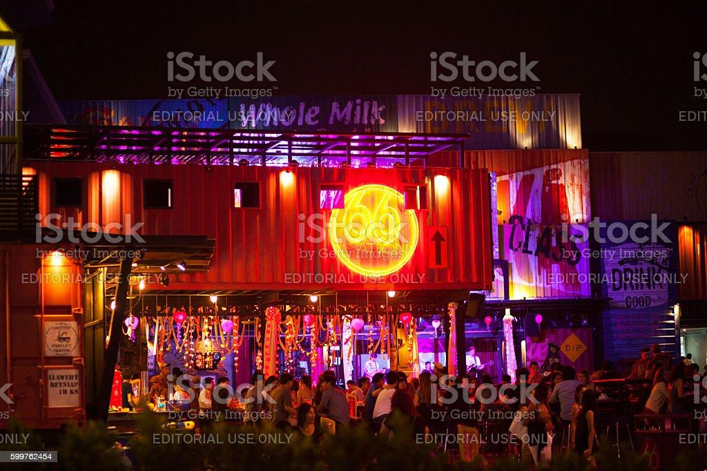 Thai people and band at bar stock photo