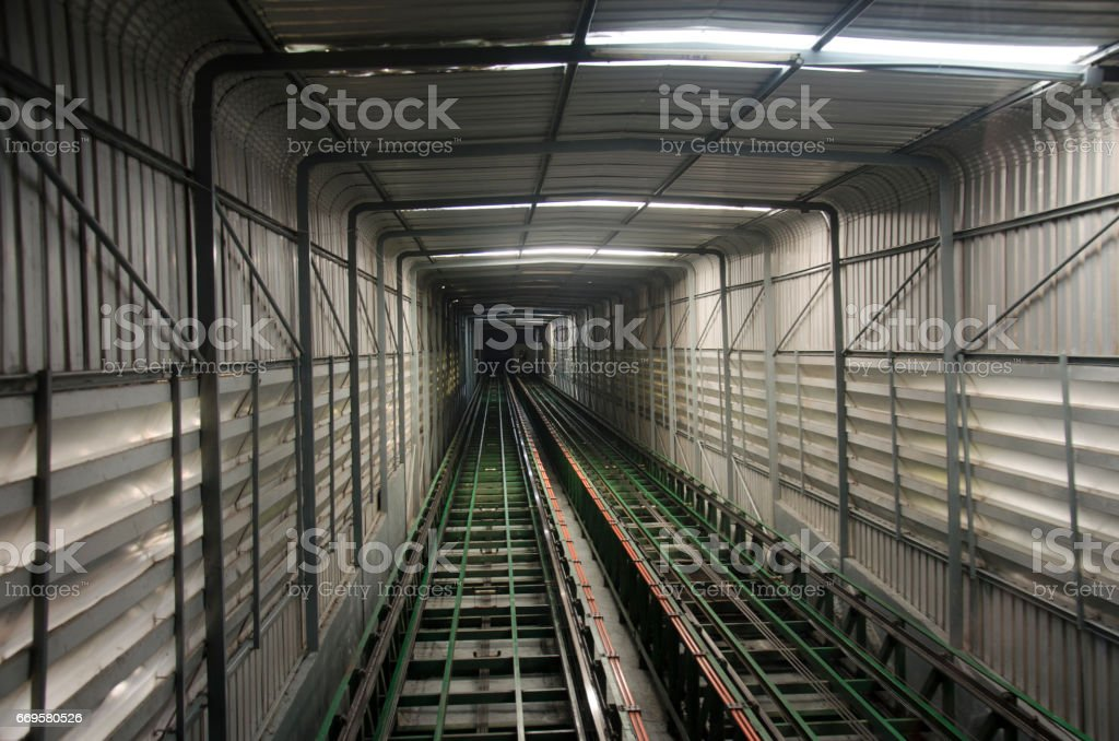 Thai people and foreigner traveler use funicular railway stock photo