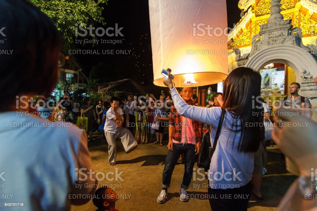 Thai people celebrate new year and release floating lanterns in Chiang Mai, Thailand stock photo