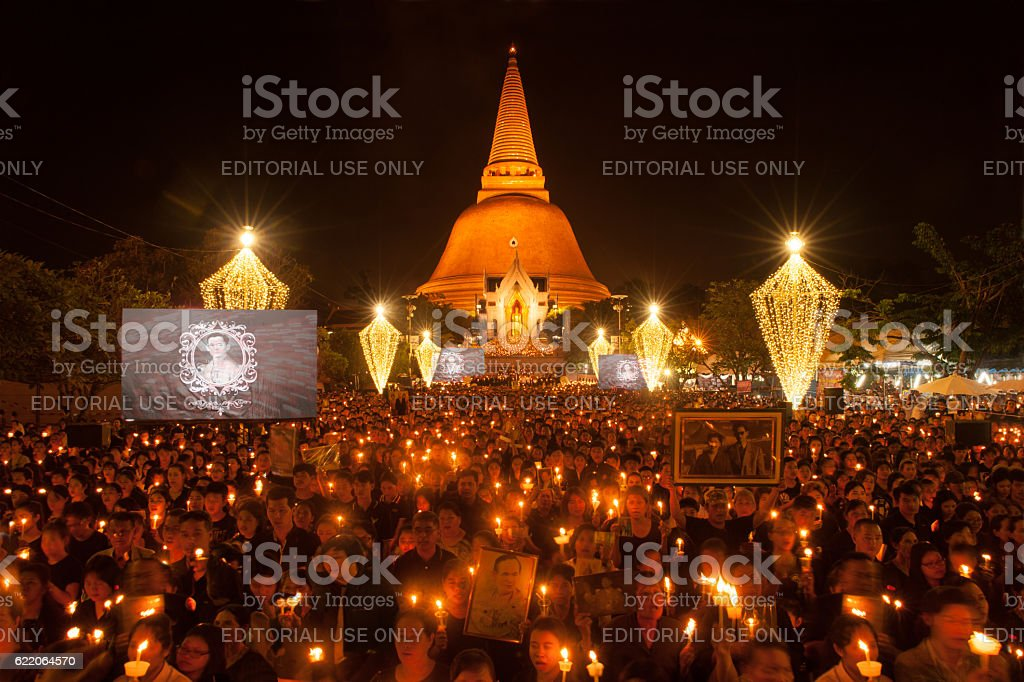 Thai people come for singing the anthem. stock photo