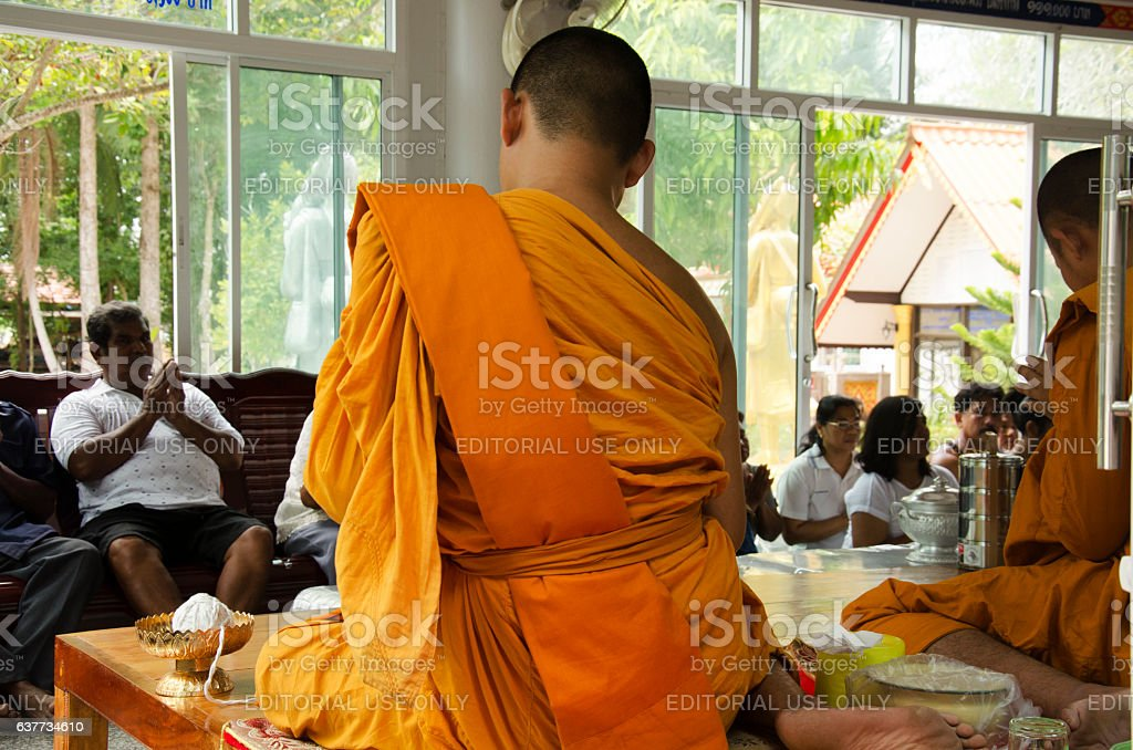 Thai people join with merit 100 day of death stock photo