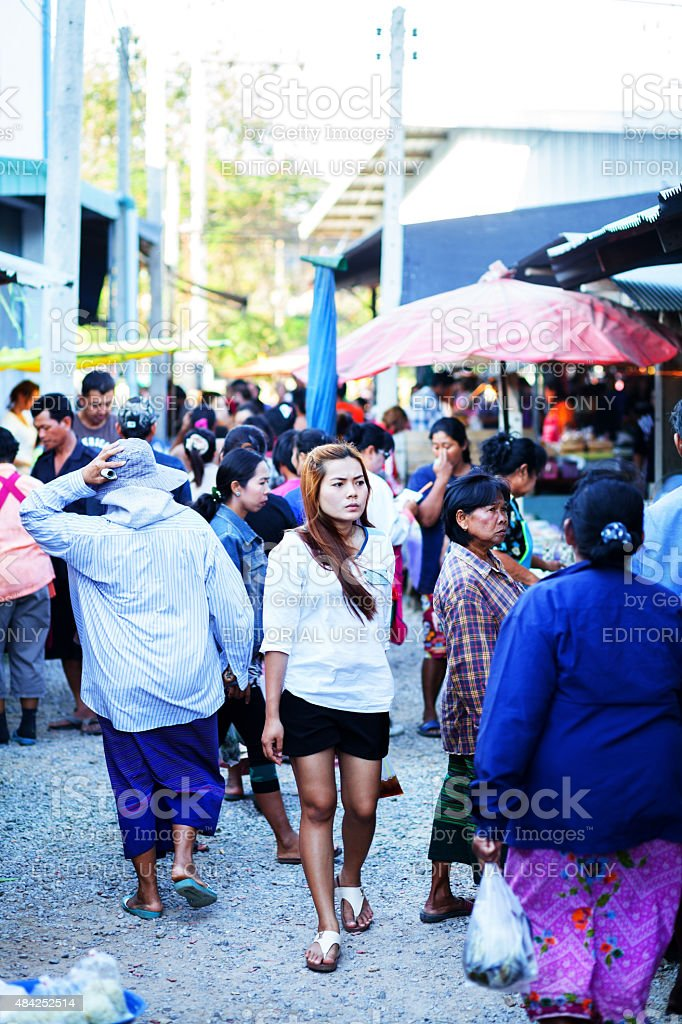 Thai people on local small market stock photo