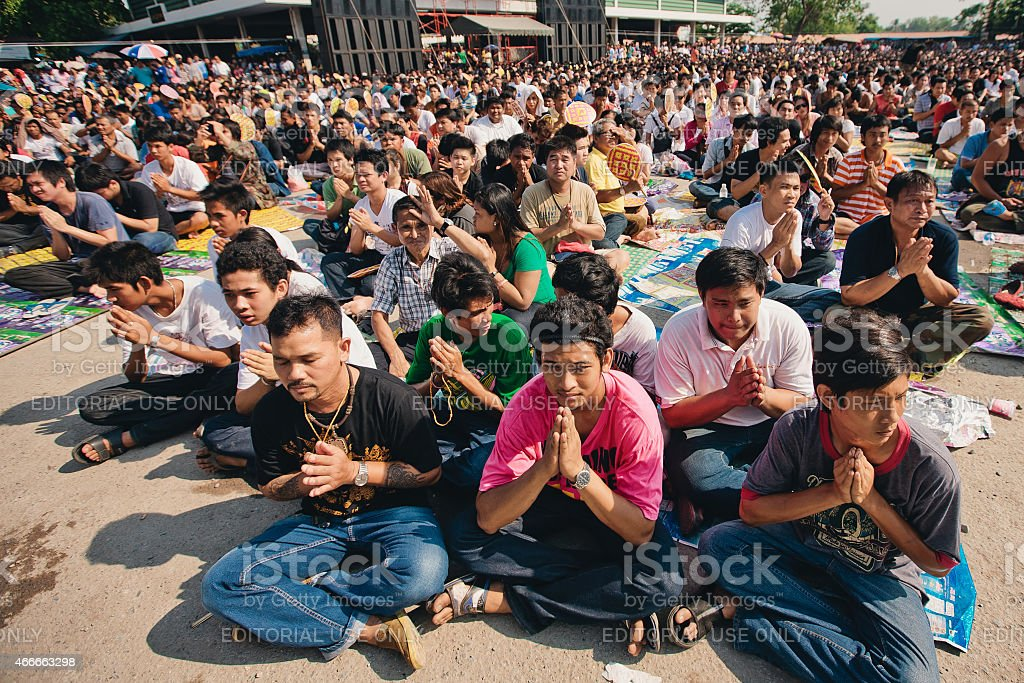 Thai people pray on Festival of magic tattoo stock photo