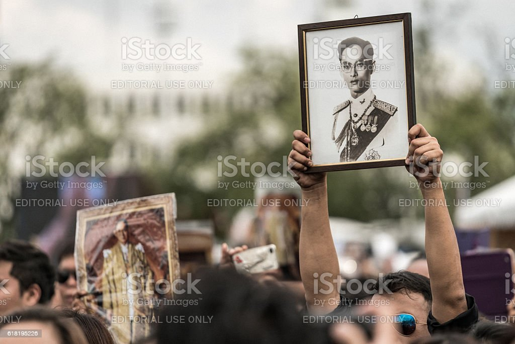 Thai people singing the anthem of King stock photo