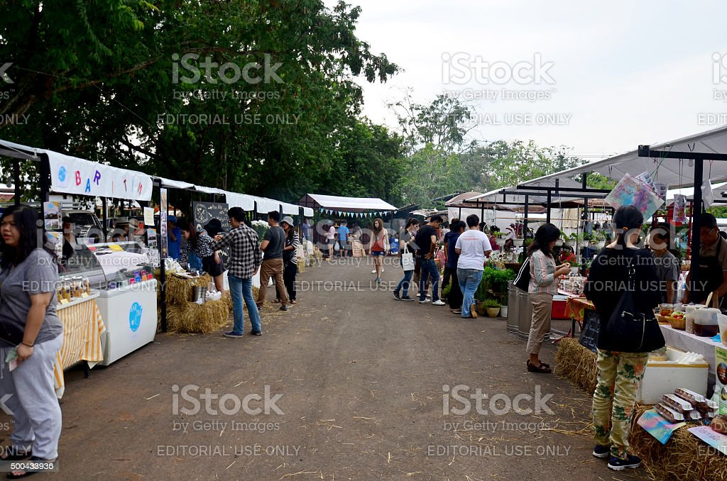 Thai people travel and shopping at market fair stock photo
